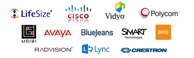 Video Conferencing Manufacturer logos: Cisco, Polycom, Vidyo, Avaya, SMART, Crestron, Pexip and LifeSize