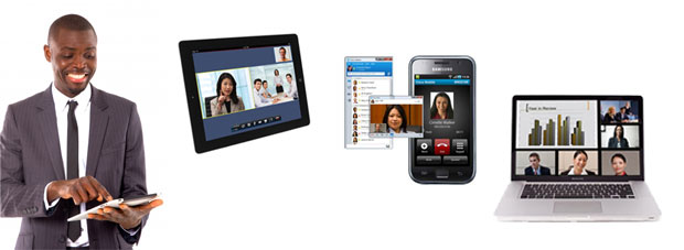 iPad, Smartphone and laptops with Video Collaboration